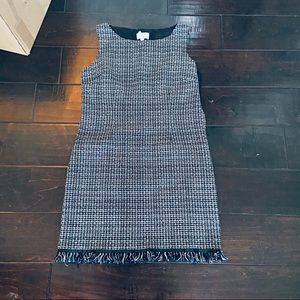 Laundry by Shelli Segal plaid tweed fringed dress.